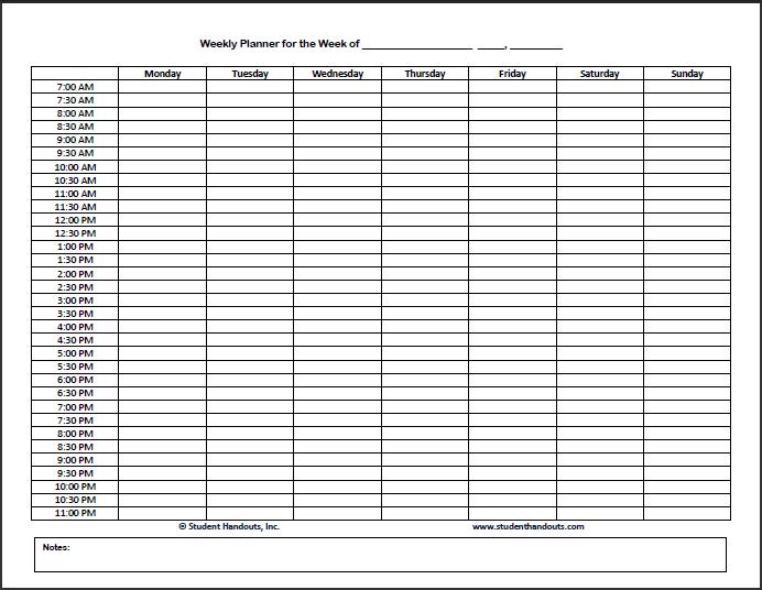 Printable Weekly Calendar Template 2014